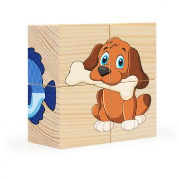 Кубики-пазл 4 эл. Домашние любимцы Собери рисунок РДИ Д491а