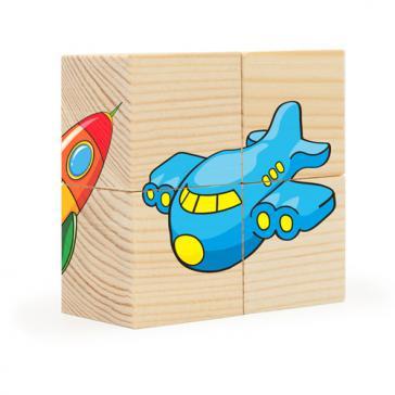 Кубики-пазл 4 эл. Транспорт Собери рисунок Д483а