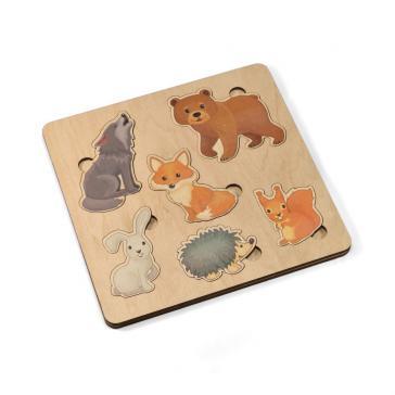 Игра развивающая деревянная Лесные животные 21х21 00764
