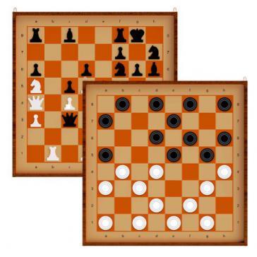 Шахматы и шашки демонстрационные магнитные 03903