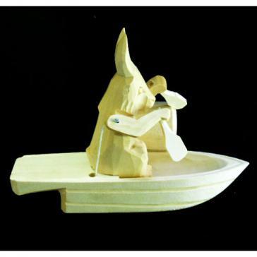Заяц в лодке Богородская игрушка 5609
