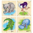 Африканские животные картинки разрезные Д074